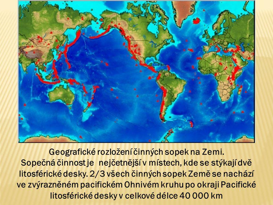 Geografické rozložení činných sopek na Zemi.