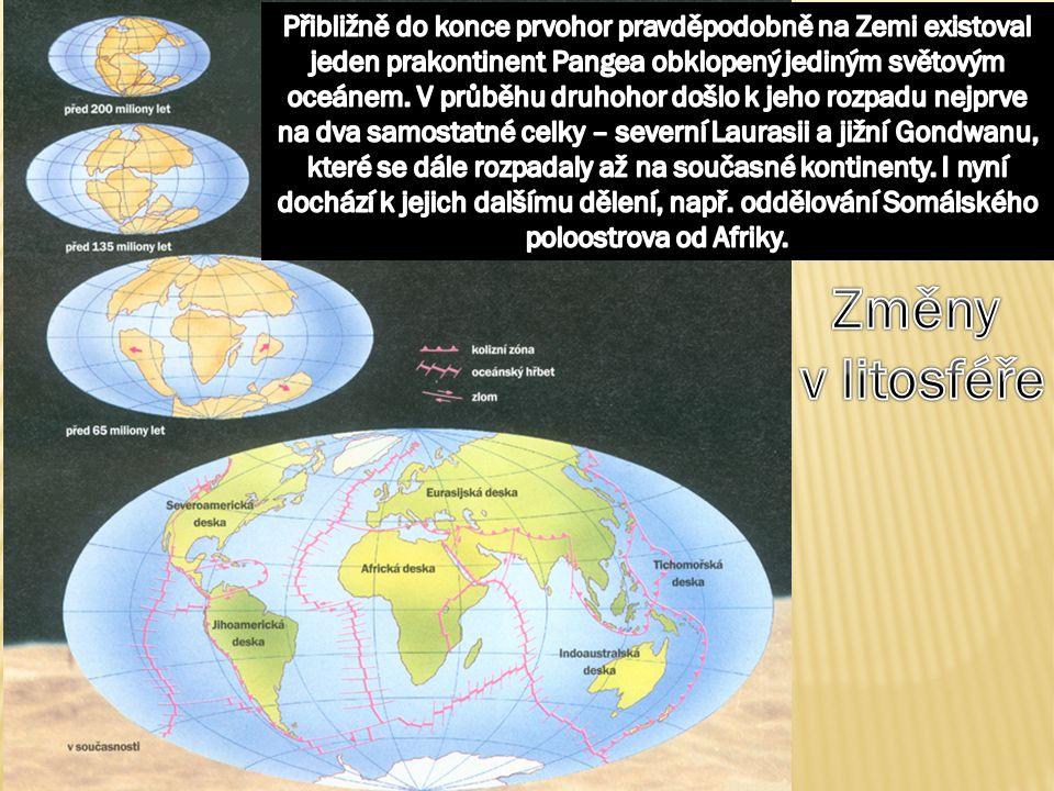 Přibližně do konce prvohor pravděpodobně na Zemi existoval jeden prakontinent Pangea obklopený jediným světovým oceánem. V průběhu druhohor došlo k jeho rozpadu nejprve na dva samostatné celky – severní Laurasii a jižní Gondwanu, které se dále rozpadaly až na současné kontinenty. I nyní dochází k jejich dalšímu dělení, např. oddělování Somálského poloostrova od Afriky.
