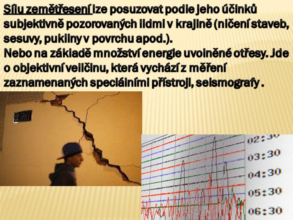 Sílu zemětřesení lze posuzovat podle jeho účinků subjektivně pozorovaných lidmi v krajině (ničení staveb, sesuvy, pukliny v povrchu apod.).