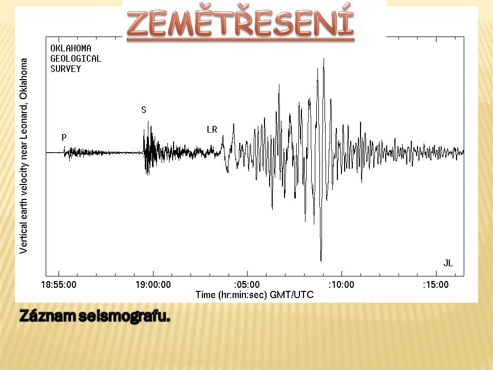 ZEMĚTŘESENÍ Záznam seismografu.