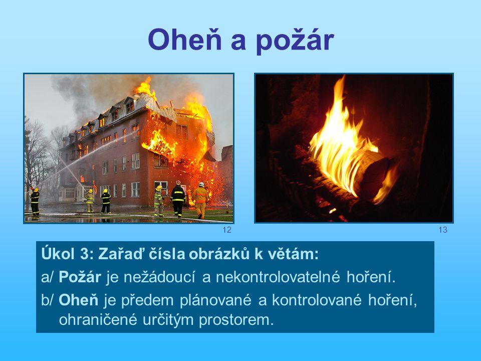 Oheň a požár Úkol 3: Zařaď čísla obrázků k větám: