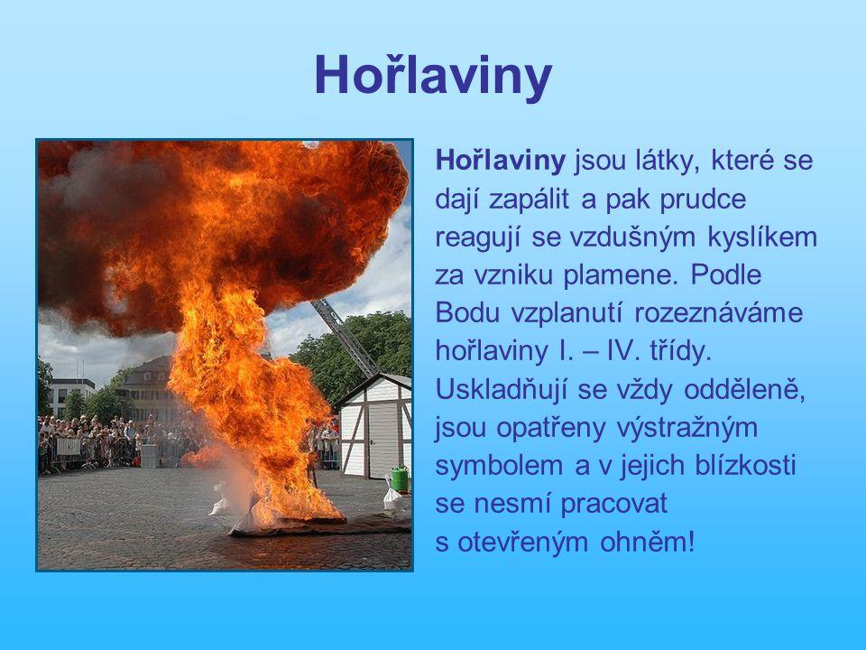 Hořlaviny Hořlaviny jsou látky, které se dají zapálit a pak prudce