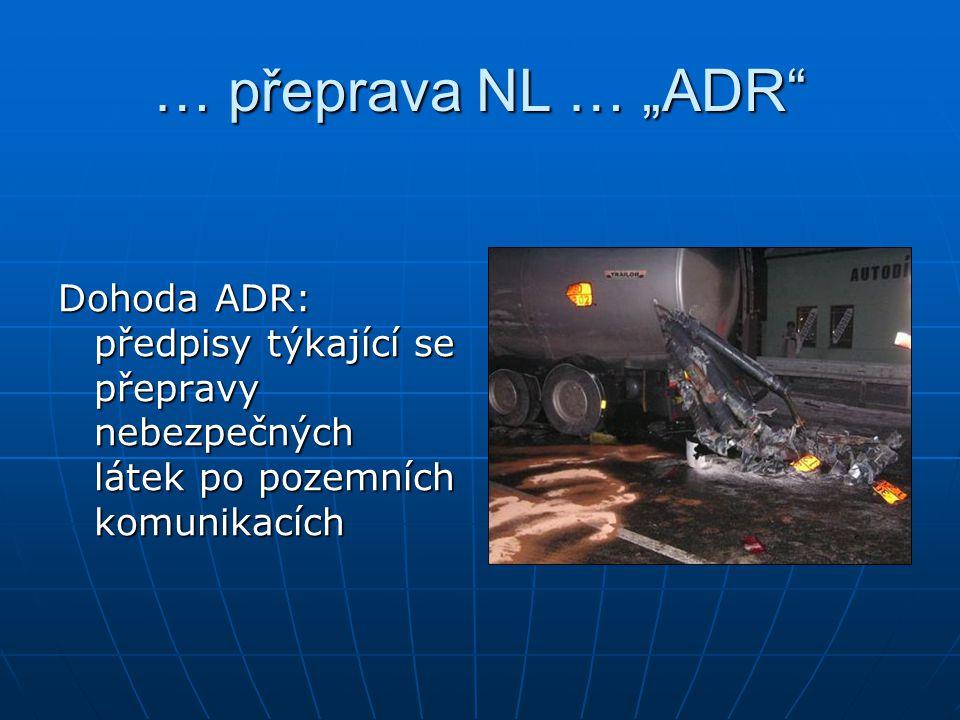 """… přeprava NL … """"ADR Dohoda ADR: předpisy týkající se přepravy nebezpečných látek po pozemních komunikacích."""