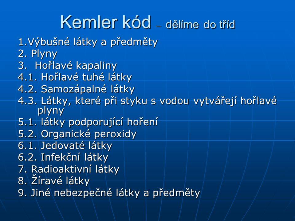 Kemler kód – dělíme do tříd