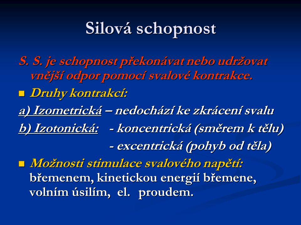 Silová schopnost S. S. je schopnost překonávat nebo udržovat vnější odpor pomocí svalové kontrakce.