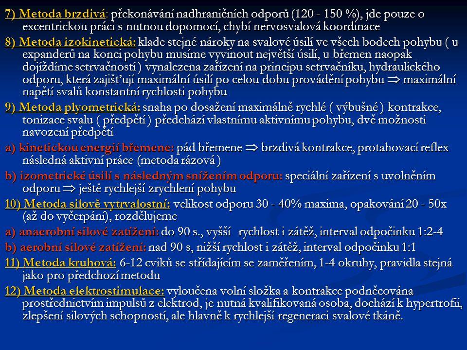 7) Metoda brzdivá: překonávání nadhraničních odporů (120 - 150 %), jde pouze o excentrickou práci s nutnou dopomocí, chybí nervosvalová koordinace