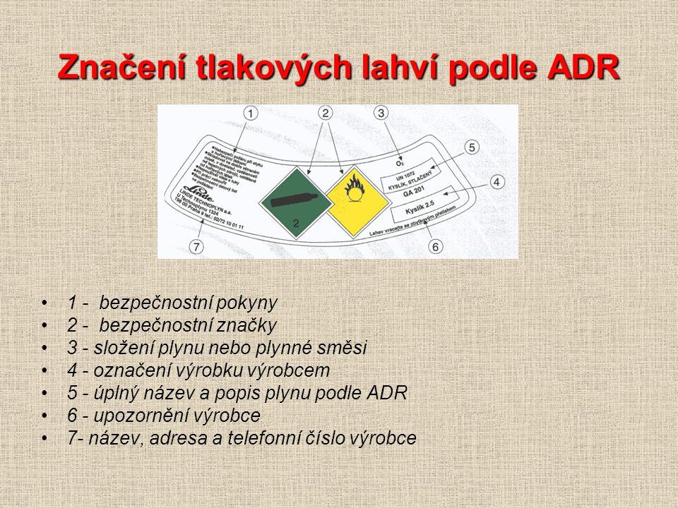 Značení tlakových lahví podle ADR