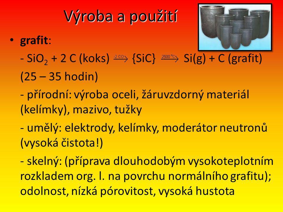 Výroba a použití grafit: - SiO2 + 2 C (koks) {SiC} Si(g) + C (grafit)