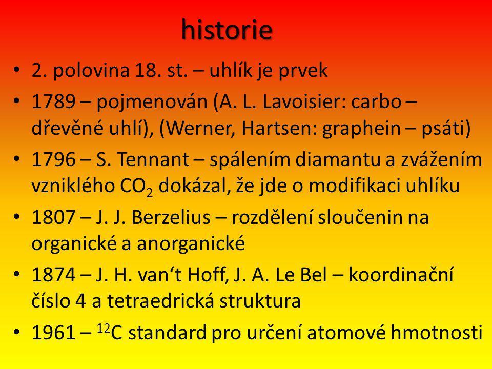 historie 2. polovina 18. st. – uhlík je prvek