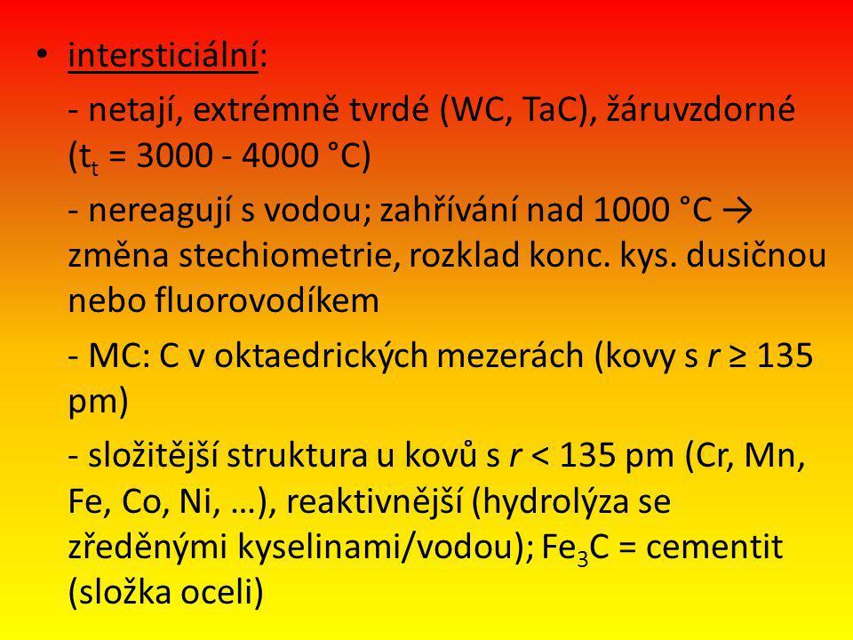 intersticiální: - netají, extrémně tvrdé (WC, TaC), žáruvzdorné (tt = 3000 - 4000 °C)