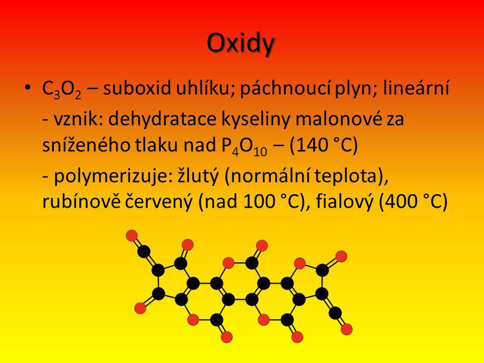 Oxidy C3O2 – suboxid uhlíku; páchnoucí plyn; lineární