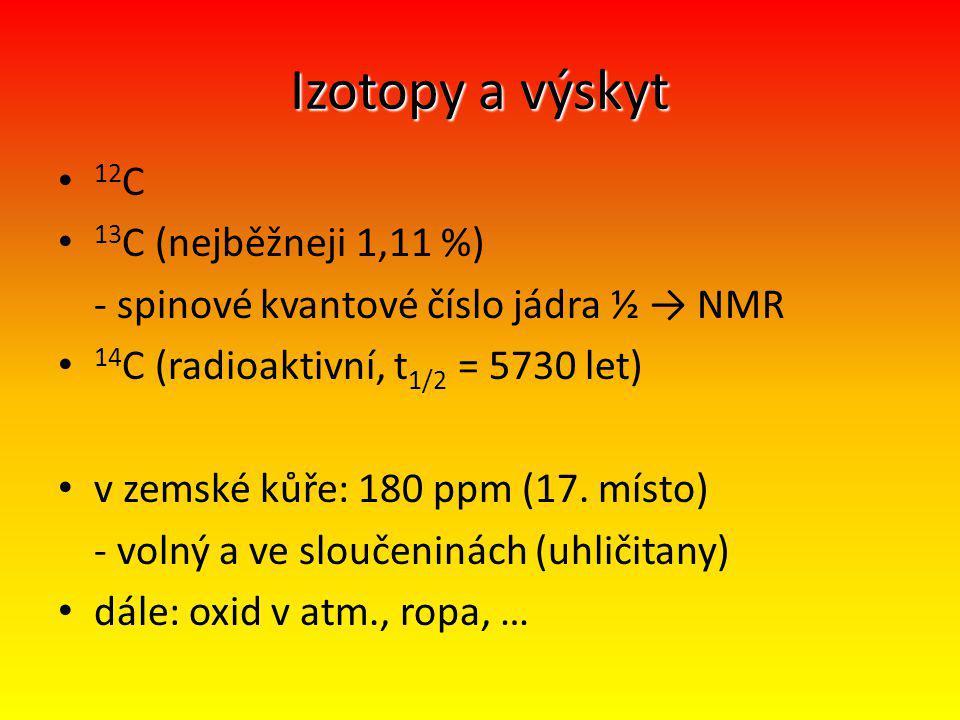Izotopy a výskyt 12C 13C (nejběžneji 1,11 %)