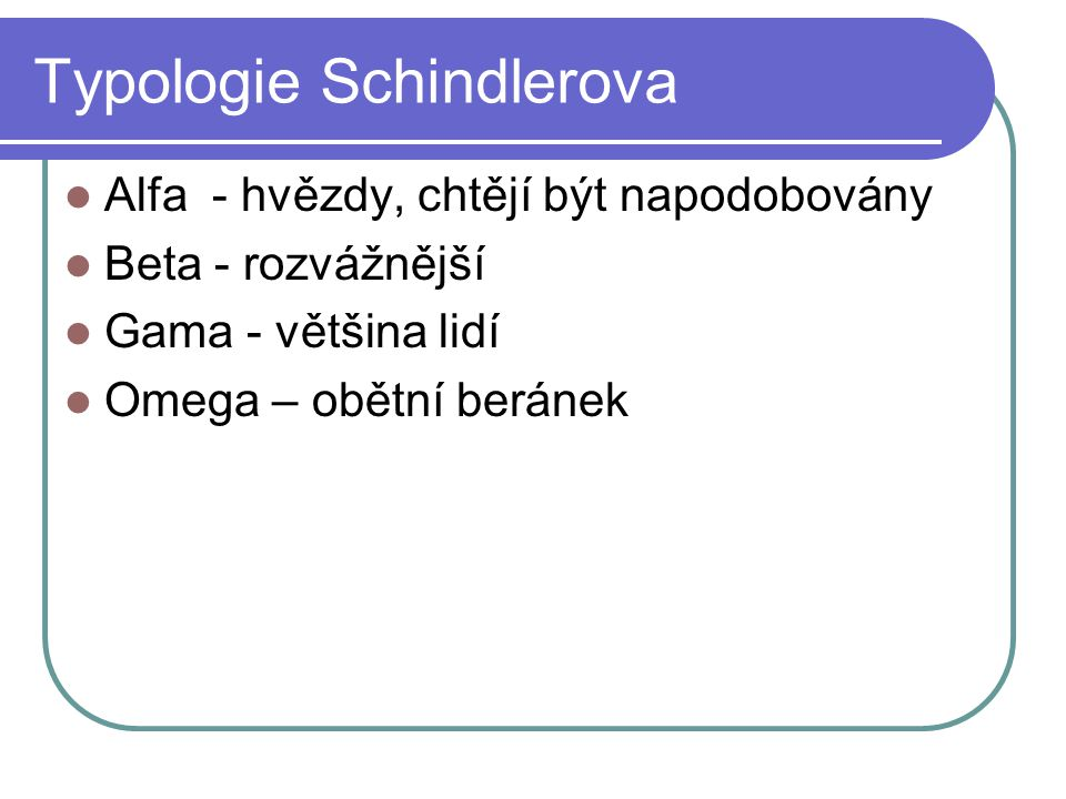Typologie Schindlerova