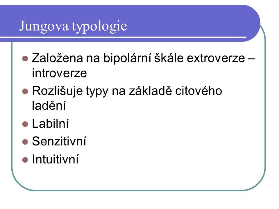 Jungova typologie Založena na bipolární škále extroverze – introverze