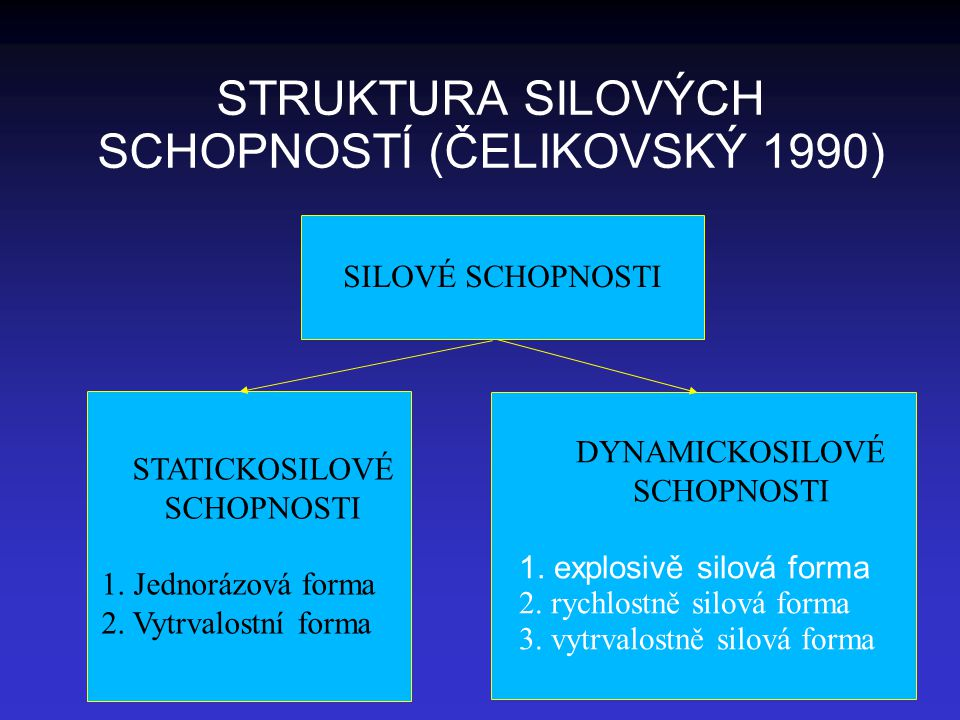 STRUKTURA SILOVÝCH SCHOPNOSTÍ (ČELIKOVSKÝ 1990)