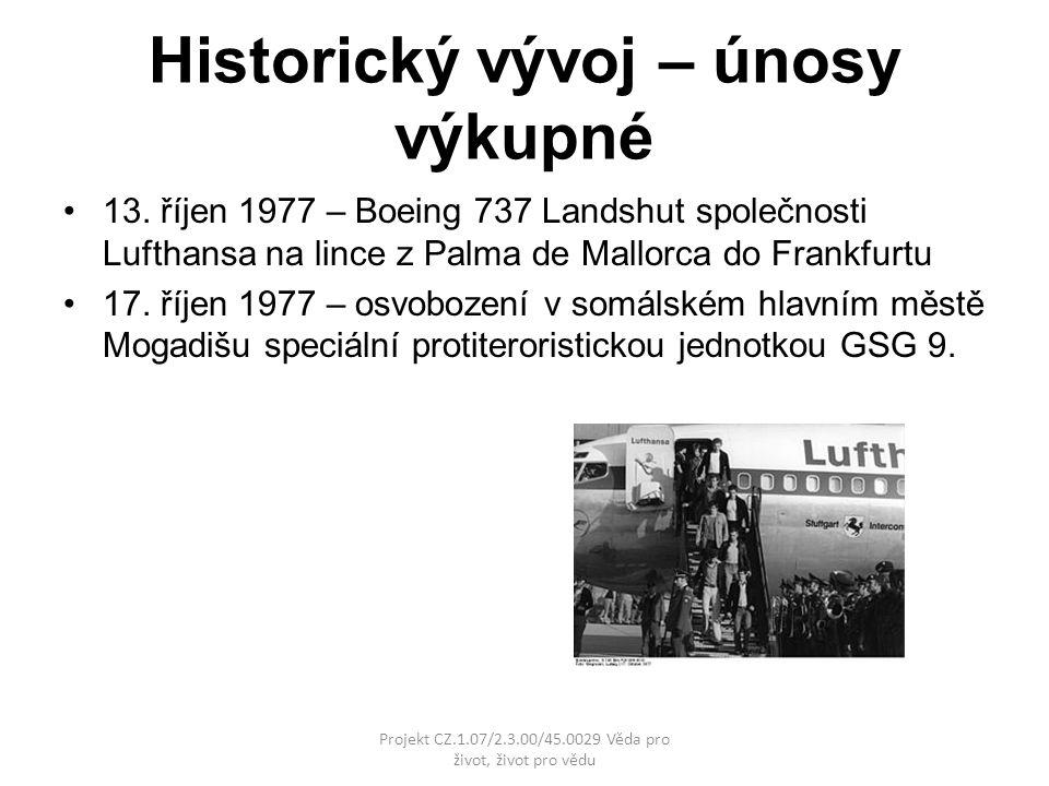 Historický vývoj – únosy výkupné