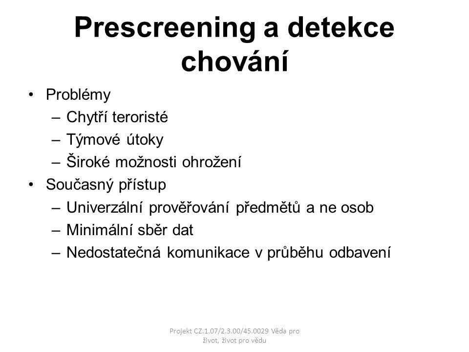 Prescreening a detekce chování