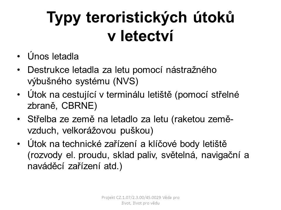 Typy teroristických útoků v letectví
