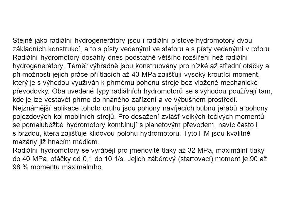 Stejně jako radiální hydrogenerátory jsou i radiální pístové hydromotory dvou základních konstrukcí, a to s písty vedenými ve statoru a s písty vedenými v rotoru. Radiální hydromotory dosáhly dnes podstatně většího rozšíření než radiální hydrogenerátory. Téměř výhradně jsou konstruovány pro nízké až střední otáčky a při možnosti jejich práce při tlacích až 40 MPa zajišťují vysoký kroutící moment, který je s výhodou využíván k přímému pohonu stroje bez vložené mechanické převodovky. Oba uvedené typy radiálních hydromotorů se s výhodou používají tam, kde je lze vestavět přímo do hnaného zařízení a ve výbušném prostředí. Nejznámější aplikace tohoto druhu jsou pohony navíjecích bubnů jeřábů a pohony pojezdových kol mobilních strojů. Pro dosažení zvlášť velkých točivých momentů se pomaluběžbé hydromotory kombinují s planetovým převodem, navíc často i s brzdou, která zajišťuje klidovou polohu hydromotoru. Tyto HM jsou kvalitně mazány již hnacím médiem.