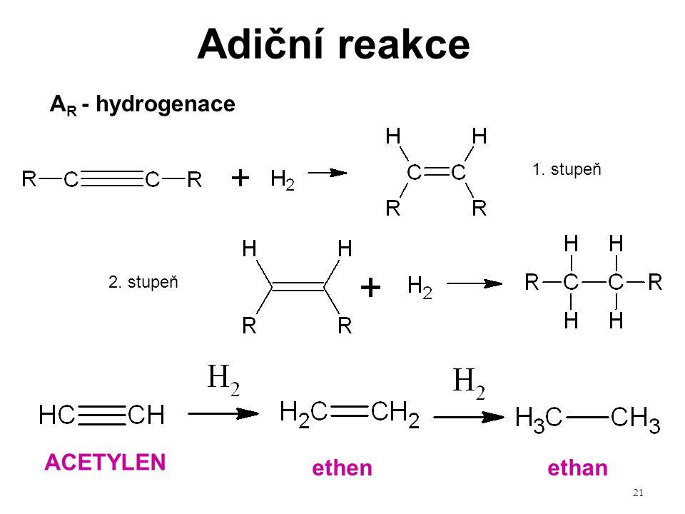 Adiční reakce AR - hydrogenace ACETYLEN ethen ethan 1. stupeň