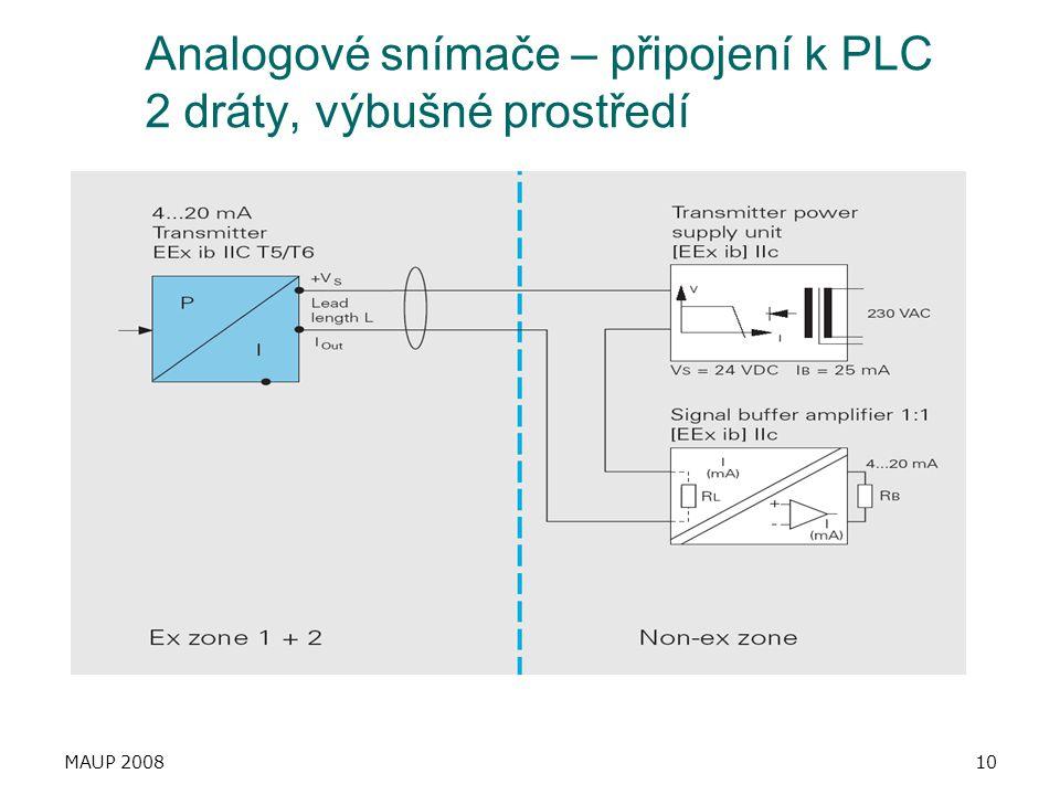 Analogové snímače – připojení k PLC 2 dráty, výbušné prostředí