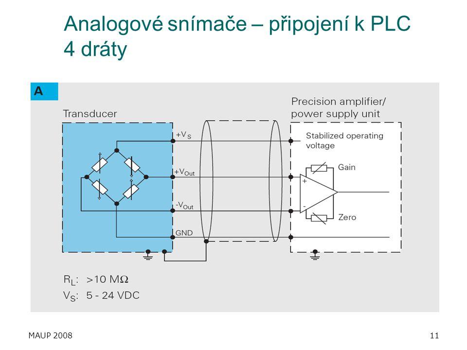 Analogové snímače – připojení k PLC 4 dráty