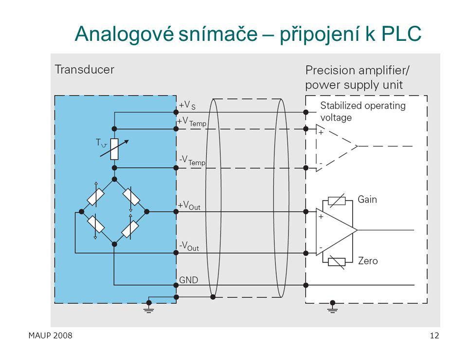 Analogové snímače – připojení k PLC
