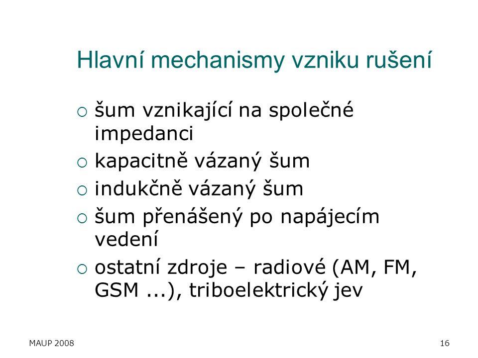 Hlavní mechanismy vzniku rušení