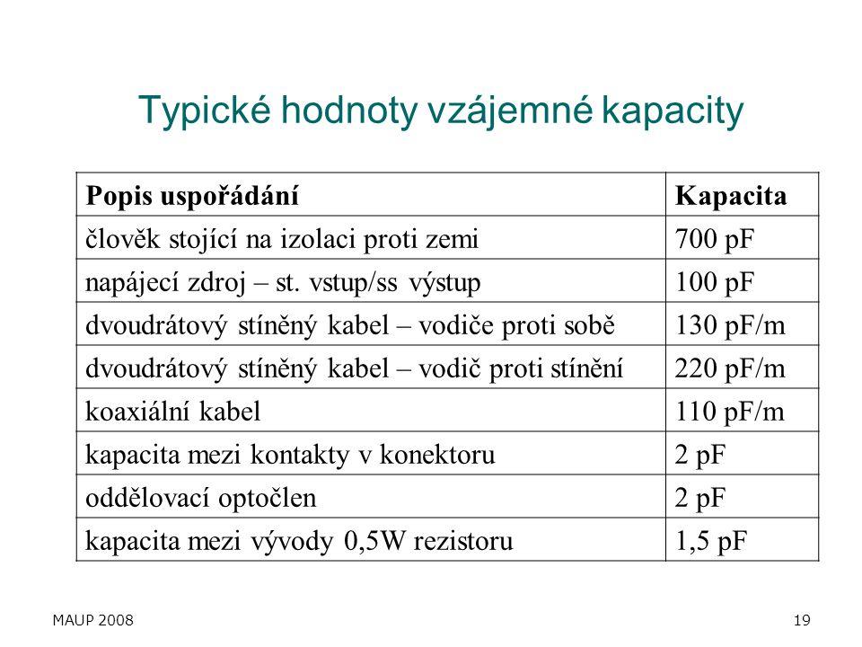 Typické hodnoty vzájemné kapacity