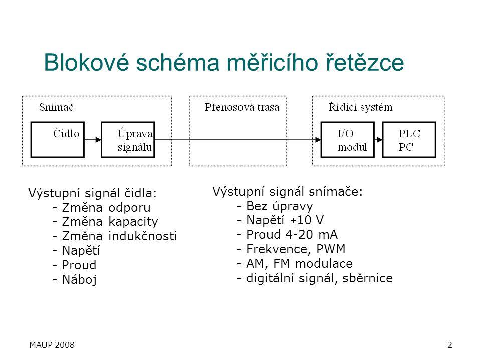 Blokové schéma měřicího řetězce