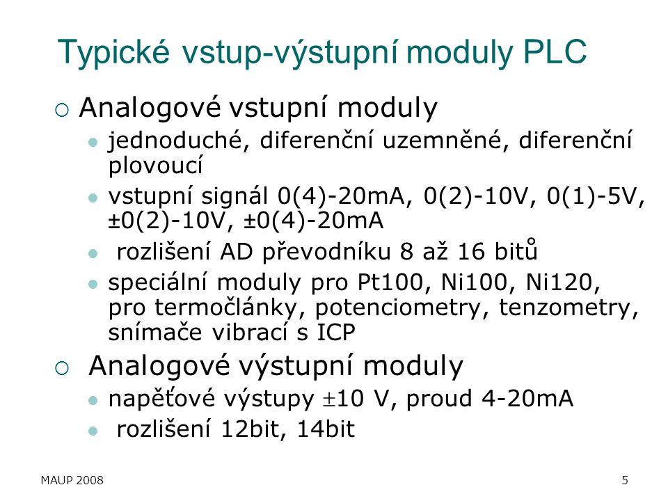 Typické vstup-výstupní moduly PLC