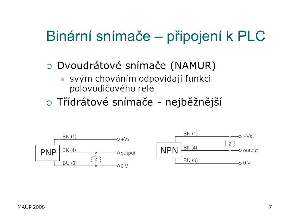Binární snímače – připojení k PLC