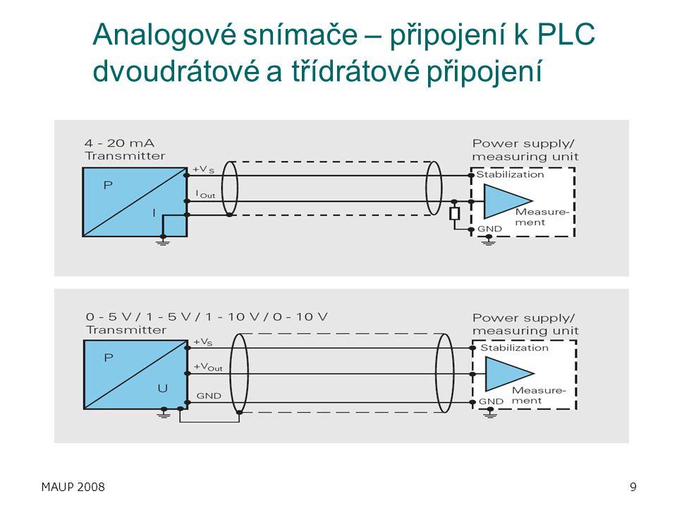 Analogové snímače – připojení k PLC dvoudrátové a třídrátové připojení