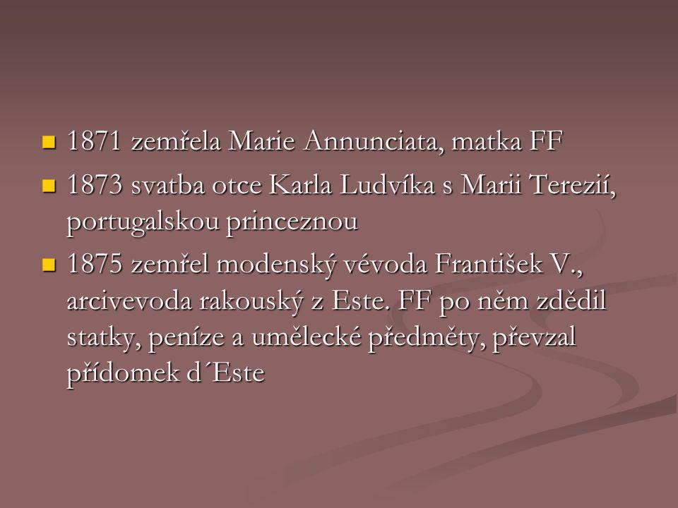 1871 zemřela Marie Annunciata, matka FF