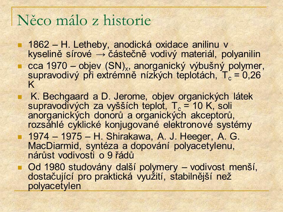 Něco málo z historie 1862 – H. Letheby, anodická oxidace anilinu v kyselině sírové → částečně vodivý materiál, polyanilin.