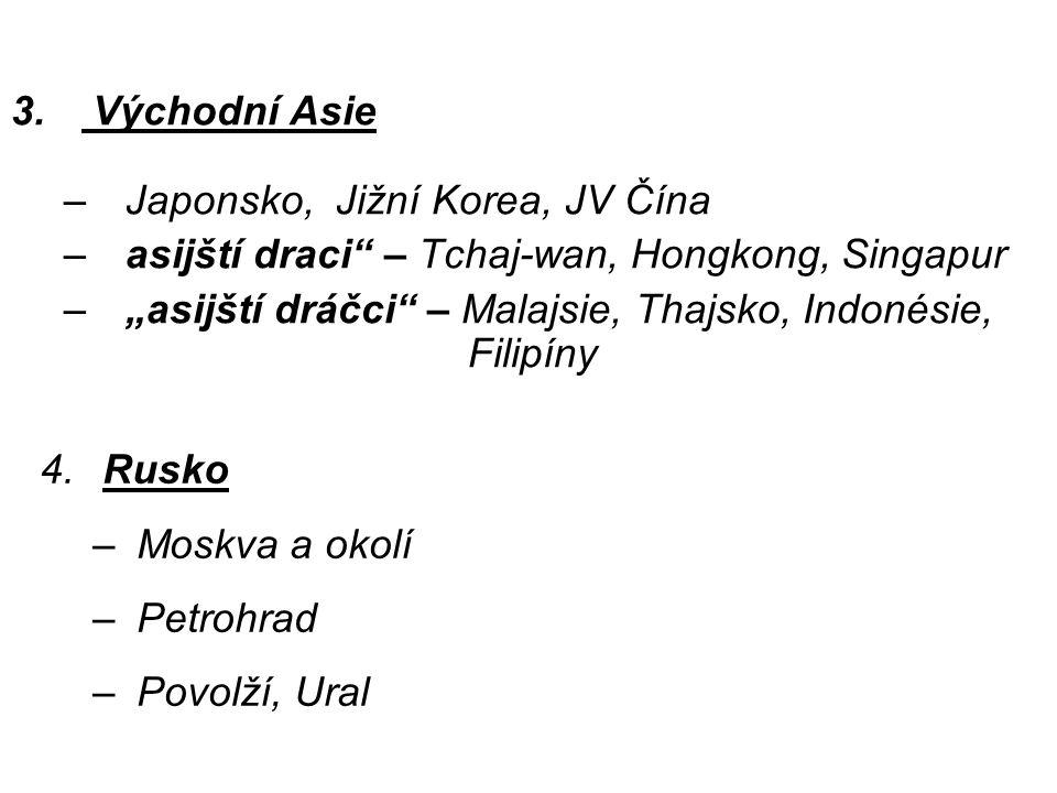 Východní Asie Japonsko, Jižní Korea, JV Čína. asijští draci – Tchaj-wan, Hongkong, Singapur.