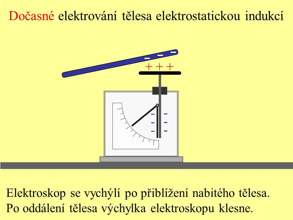 Dočasné elektrování tělesa elektrostatickou indukcí