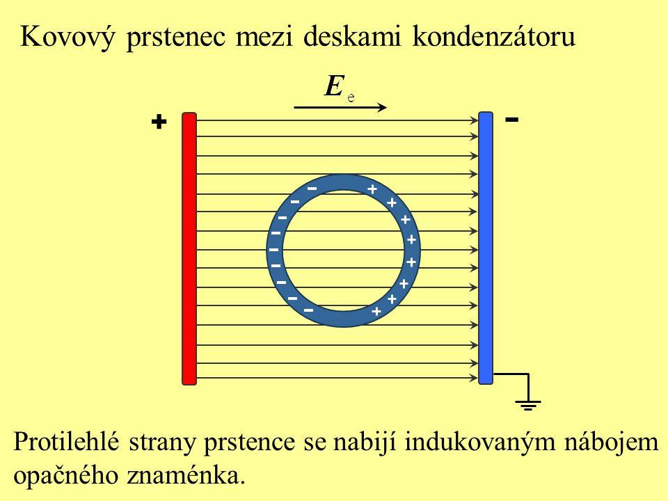 - Kovový prstenec mezi deskami kondenzátoru +