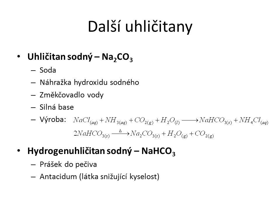 Další uhličitany Uhličitan sodný – Na2CO3