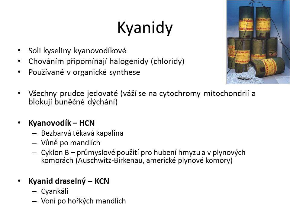 Kyanidy Soli kyseliny kyanovodíkové