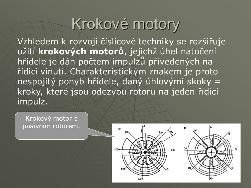 Krokový motor s pasivním rotorem.