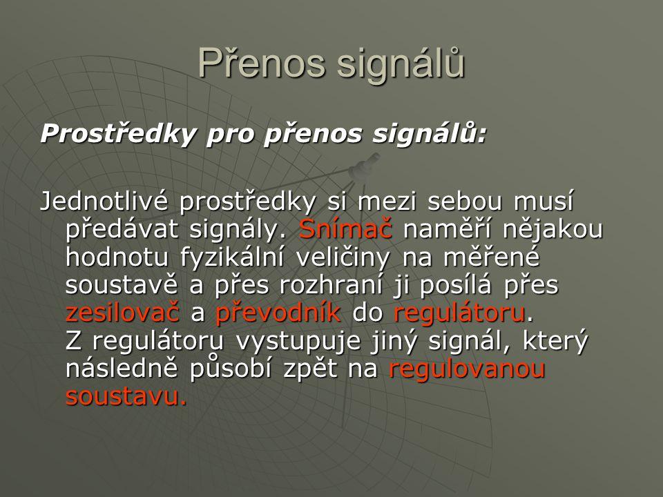Přenos signálů Prostředky pro přenos signálů: