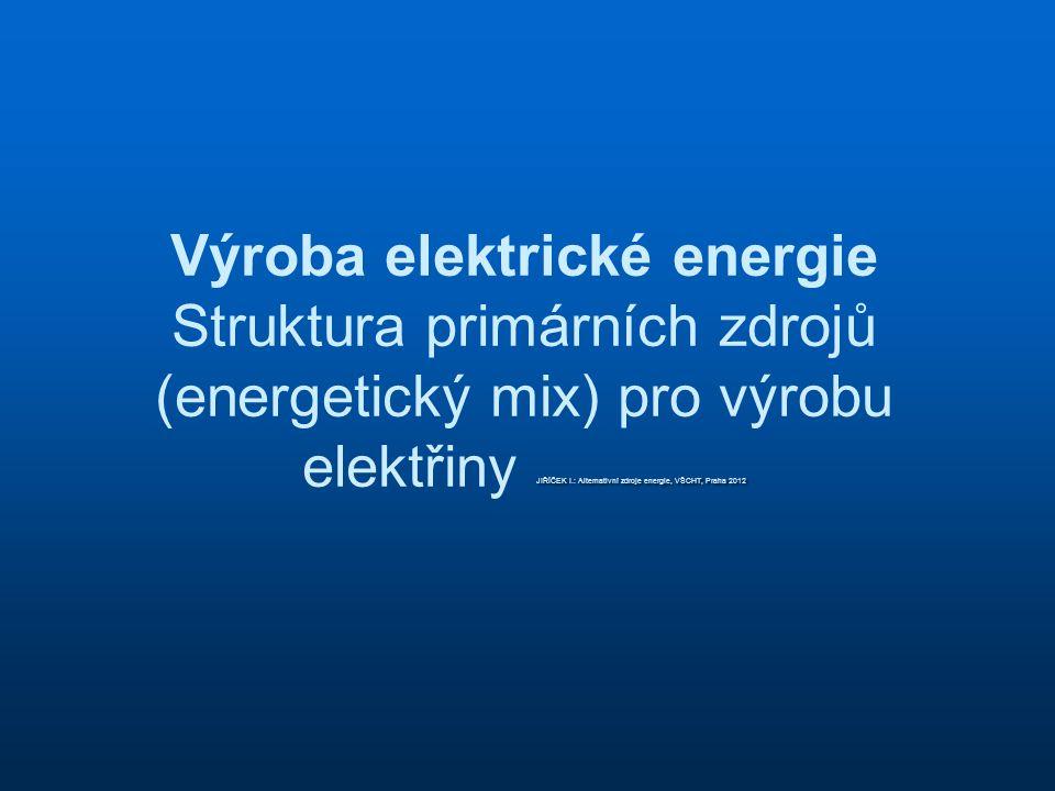 Výroba elektrické energie Struktura primárních zdrojů (energetický mix) pro výrobu elektřiny JIŘÍČEK I.: Alternativní zdroje energie, VŠCHT, Praha 2012