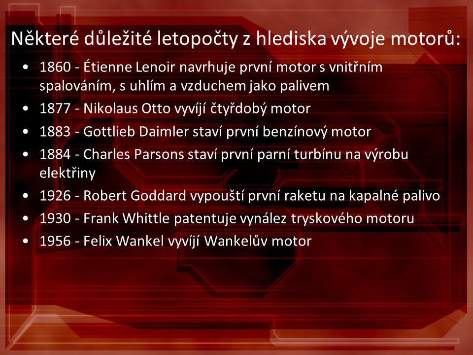 Některé důležité letopočty z hlediska vývoje motorů: