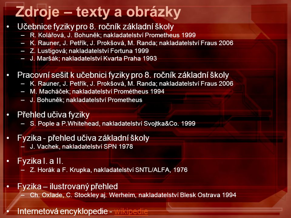 Zdroje – texty a obrázky