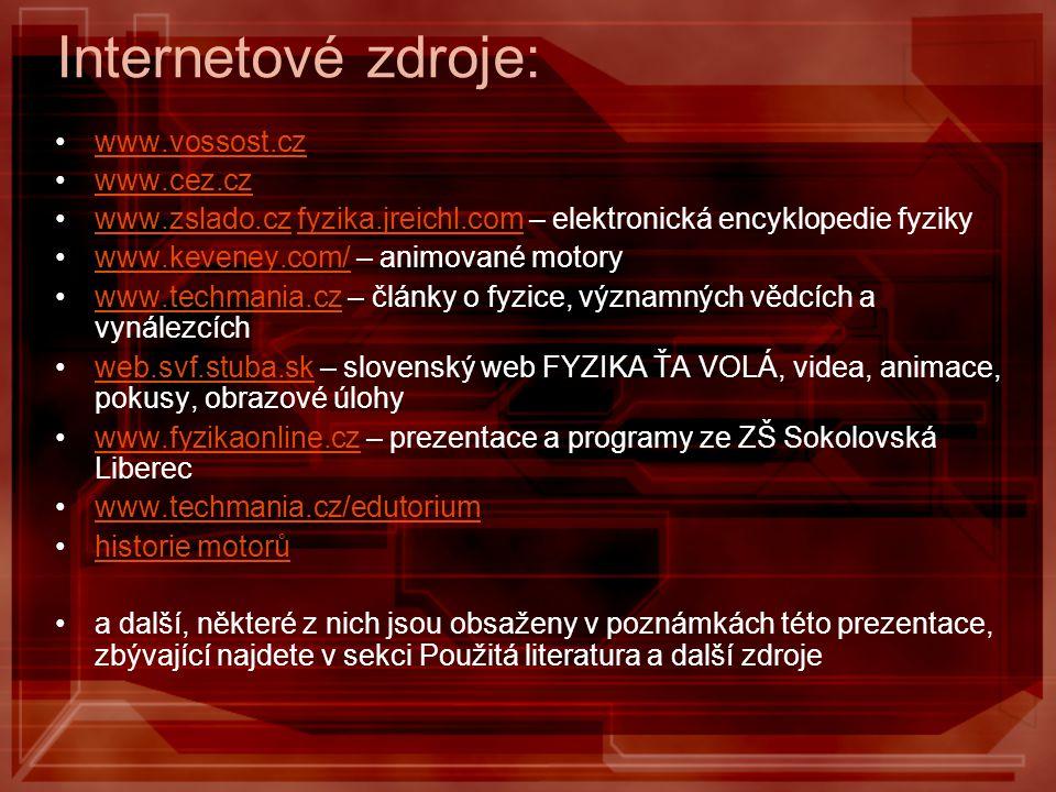 Internetové zdroje: www.vossost.cz www.cez.cz