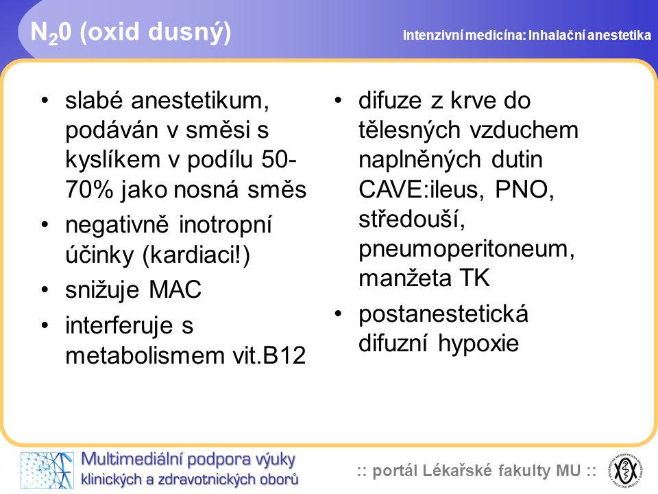 N20 (oxid dusný) Intenzivní medicína: Inhalační anestetika. slabé anestetikum, podáván v směsi s kyslíkem v podílu 50-70% jako nosná směs.
