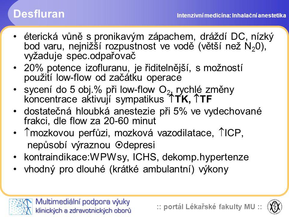 Desfluran Intenzivní medicína: Inhalační anestetika.