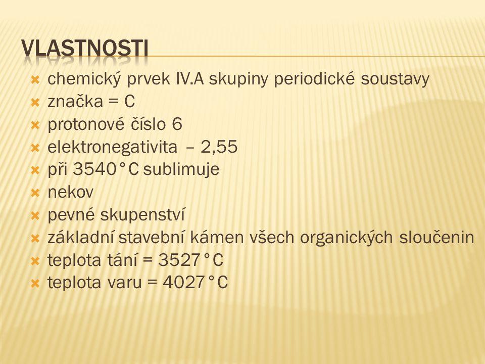 Vlastnosti chemický prvek IV.A skupiny periodické soustavy značka = C