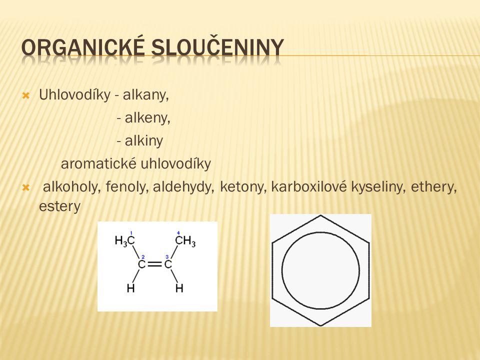 Organické sloučeniny Uhlovodíky - alkany, - alkeny, - alkiny